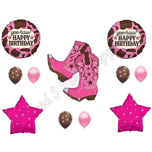 PINK COWGIRL BOOTS Happy Birthday Party Balloons Decoration Supplies Horse Western