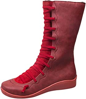 VigorY㉿ Support Boots for Women Casual Flat Retro Leather Ankle Boots Side Zipper Round High Booties Shoe