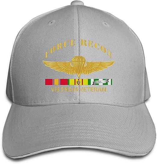 Force Recon Fire Vietnam Vet W VN SVC Adjustable Trucker Baseball Cap White