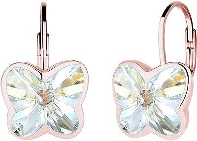 Elli Orecchini da donna a forma di farfalla in argento 925 con cristallo viola taglio rotondo