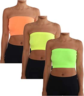 AEKO Women's Combo Pack One Size Strapless Base Bra Layer Bandeau Seamless Tube Top Regular and Plus Sizes