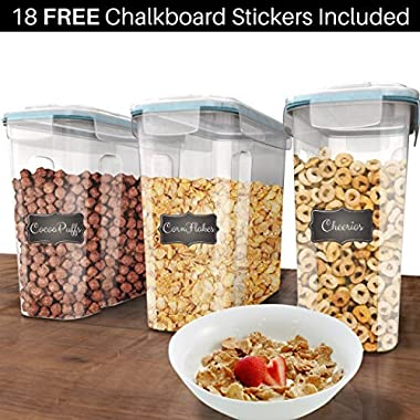Shazo Premium Quality (Set of 3) Cereal & Dry Food Storage Container (16.9 Cup/135.2oz) + FREE Chalkboard Labels - Airtight Lid - Suitable For Cereal, Flour, Sugar, Coffee, Rice, Snacks, Pet Food
