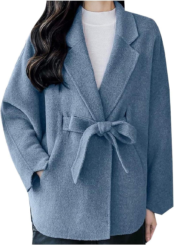 TaoNice Women Bat Sleeve Baggy Wool PlusSize Winter Poncho Short Overcoat