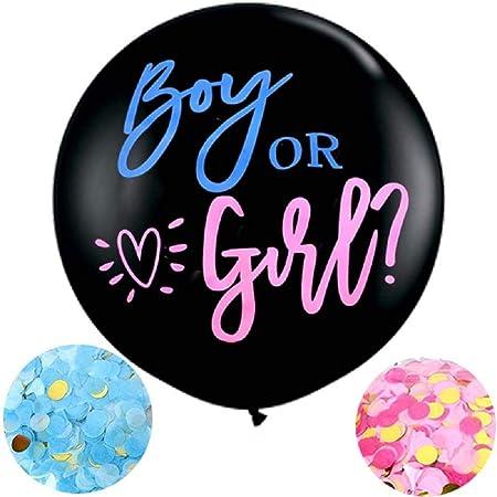 Meowoo Baby Shower Boy or Girl Palloncini Reveal di Genere con Coriandoli, Palloncino Ragazzo o Ragazza per Gender Reveal Party, Baby Shower Decorazione - 36In