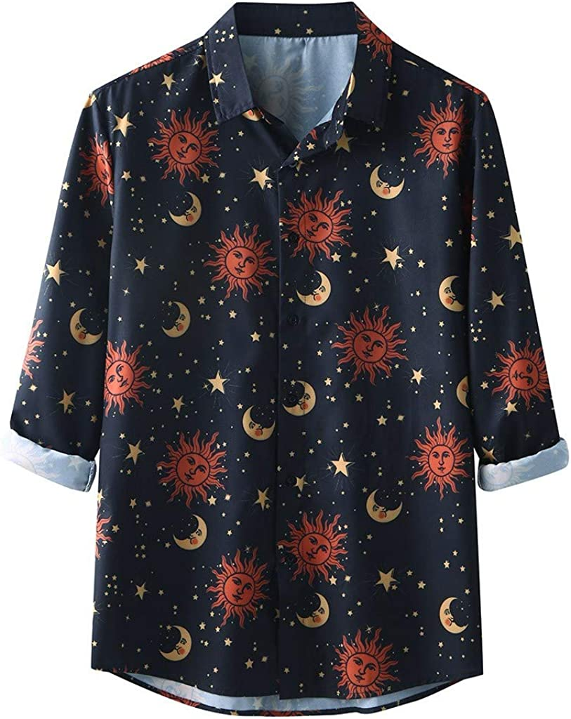 Sun and Moon Graphic Tees for Men Vintage Stylish Printed Pattern Shirts Long Sleeve Lapel Summer Casual Beach Tops