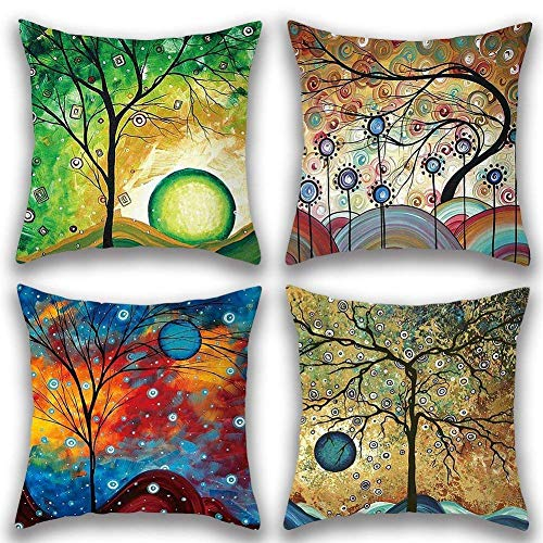 Freeas Set of 4 Colorful Tree Pattern Pillow Cover Cotton Linen Decorative Pillowcases Sofa Cushion Cover for Home Favor,18 by 18 Inches