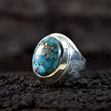 Natural Blue Copper Turquoise Ring Man's Big Ring Gift For Brother Oval Cabochon Gemstone Mans Ring Real 925 Solid Silver Hip Hop Ring