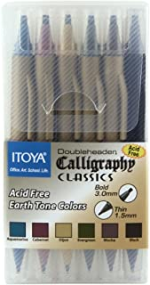 Itoya Doubleheader Calligraphy Marker Set, 2 Chisel Tips, 1.5mm and 3.0mm, Set of 6 Colors (CL-200)