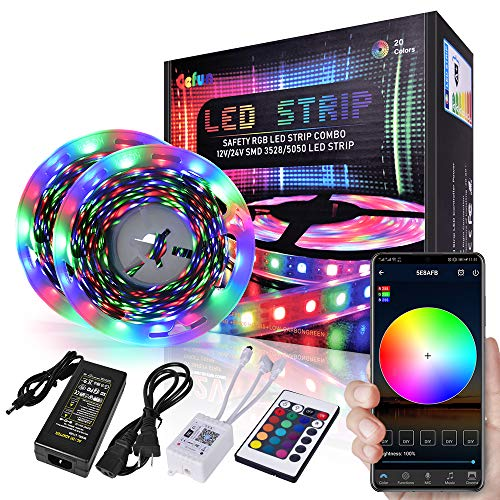 Smart WiFi RGB Led Strip Lights for Room Bedroom,32.8FT Connectable Smart L.e.d Light Strips Music Sync Color Changing APP Controll + Remote