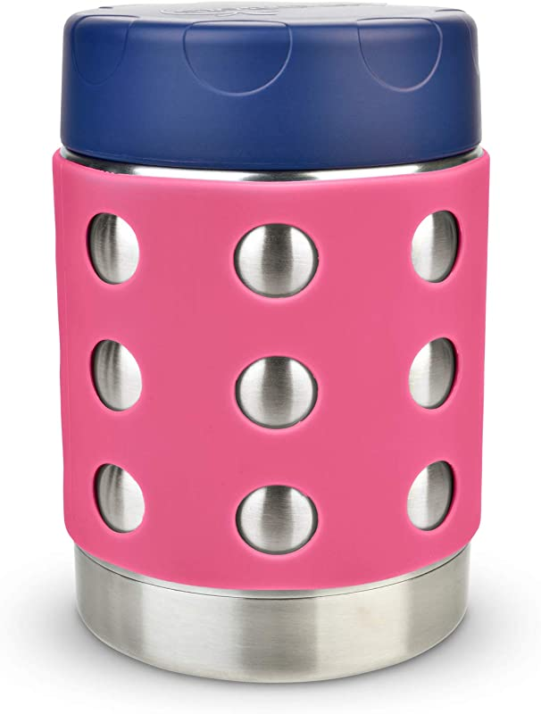 LunchBots Thermal 12 Oz Triple Insulated Food Container Hot 6 Hours Or Cold 12 Hours Leak Proof Thermos Soup Jar All Stainless Interior Navy Lid Pink Dots