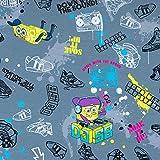 Baumwolljersey Lizenzstoff DJ Spongebob grau - Preis gilt