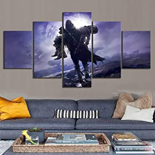 YI KUI Canvas Prints Canvas HD Prints Destiny 2 Game Images Posters Wall Art Home Decor 5-Panel Painting for The Living Room, B, 20 × 35 × 2 + 20 × 45 × 2 + 20 × 55 × 1