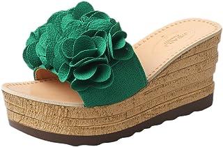 Sandalias Mujer Verano Sandalias De Verano para Girl Chanclas CuñA Hueca Zapatos De TacóN Alto Beladla