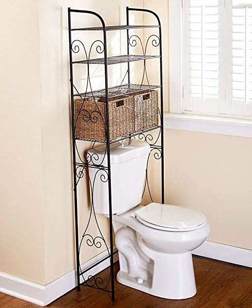 Orasanta Seagrass Accented Storage Metal Shelving Units Bathroom Organizers Over The Toilet Spacesaver With Baskets 1 PC