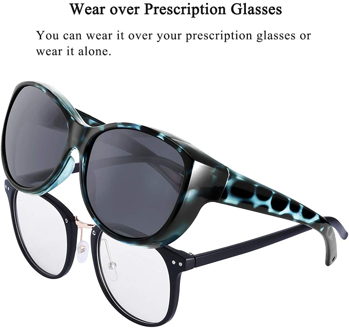 Br'Guras Polarized Oversized Sunglasses Wear over Prescription with Purple Frame for Women&Men