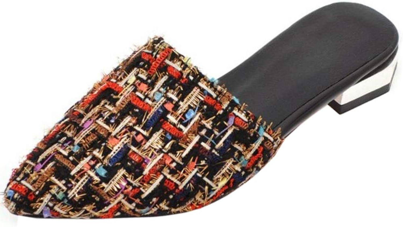 TAOFFEN Women Fashion Flat Summer shoes Plaid Sandals