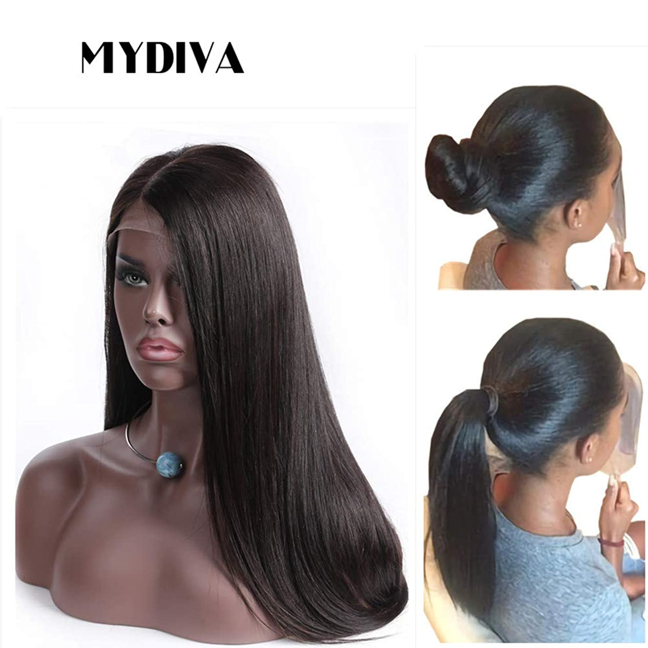 Mydiva 13x4 Lace Front Human Hair Wigs For Black Woman Middle Part 130% Density Lace Frontal Wigs Brazilian Straight Virgin Hair (18)