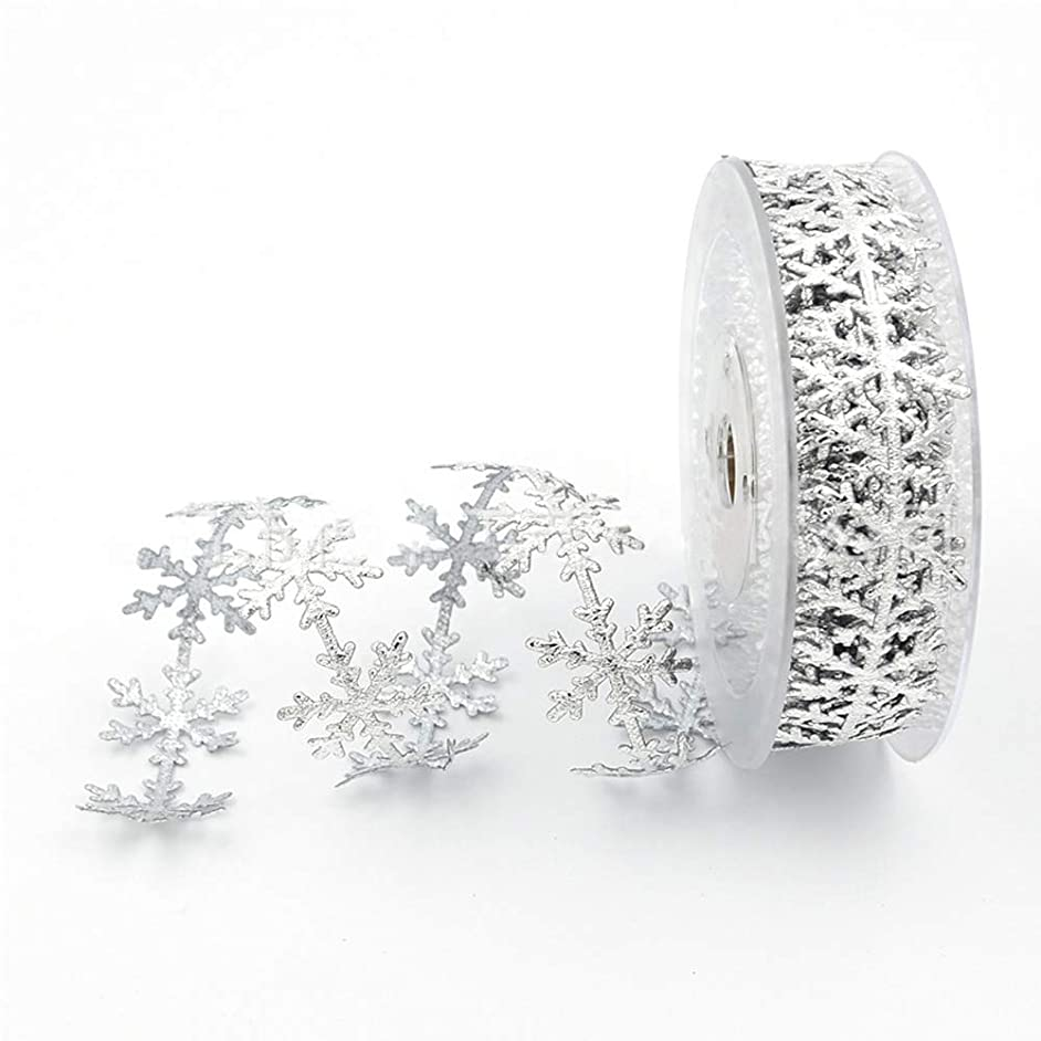 Christmas Snowflake Leaves Ribbon - 0.98 inches X 11 Yards - Gold Silver Sequins Trim Ribbon (Silver)