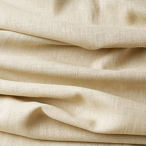 Tela de lino natural - 100% lino puro - Gran textura de lino - 20 colores - Por metro (Blanco lino)