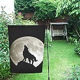 InterestPrint Happy More Custom - Bandera doble de jardín con diseño de lobo y luna, 30,5 x...