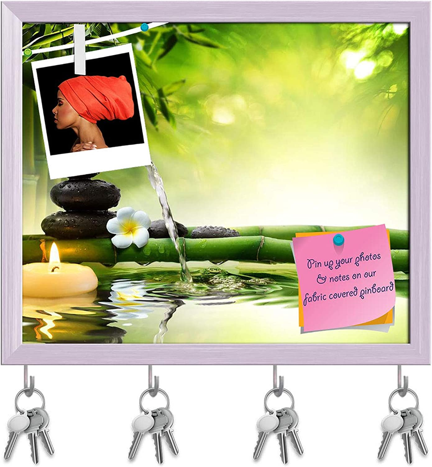 Artzfolio Spa Garden D3 Key Holder Hooks   Notice Pin Board   White Frame 19.1 X 16Inch