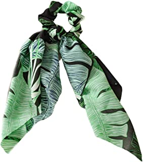 YOUSIKE Women Boho Retro DIY Bow Streamers Scrunchies Tropical Leaves Print Long Ribbon Hair Ties Rubber Rope Decorative Ponytail Holder Green