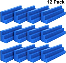 DEKIRU 12 Pack Acoustic Bass Traps Panels, 12 X 3 X 3 Inch Wedge Tiles Corner Wall SoundProofing Studio Foam Padding, Idea for Studio or Home Theater Sound Dampening Treatment (Blue)