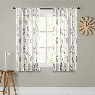 MRTREES Short Sheer Curtains Floral Printed 45 inch Length Linen Textured Kitchen Curtain Sheers Living Room Leaves Print Bedroom Window Treatment Set Basement 2 Panels Rod Pocket Drapes Grey Flower