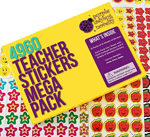 Lehrer Sticker für Kinder Mega Pack von Purple Ladybug, 4960 Belohnungs & Incentive Aufkleber für Lehrer, Klassenzimmer & Schule Bulk Use! Kleine Geschenke für Kinder, Smiley & Sternaufkleber!