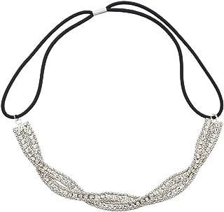 Lux Accessories Braided Mesh Crystal Rhinestone Stretch Headband