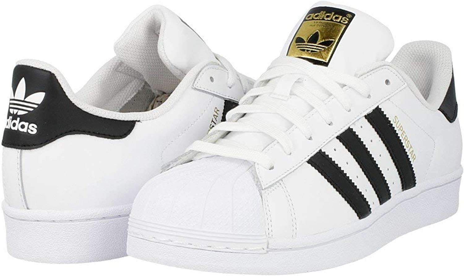 Adidas Originals Men's Superstar Basketball Sneaker, White Black White, 3.5 M US