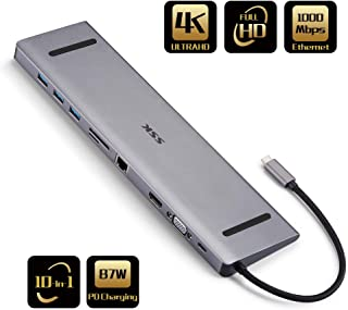 SSK USB C Docking Station,10 in 1 Type C HUB Upgraded Adapter with HDMI, VGA, RJ45, PD3.0, USB3.0, SD/TF, 3.5mm Audio+Micro Compatible for MacBook/Pro/Air (Thunderbolt 3),iPad,and More Type C Laptops