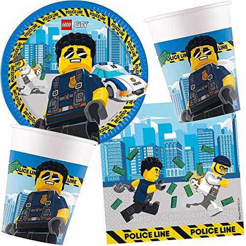 Carpeta Lego City - Juego de 37 piezas para cumpleaños infantiles y fiestas temáticas con platos, servilletas, vasos y globos