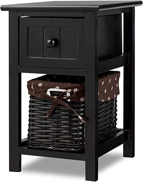 Giantex Nightstand With Drawer And Layer Wicker Basket Wooden Mini Organizer For Bedroom Bedside Sofa End Table 1 Black