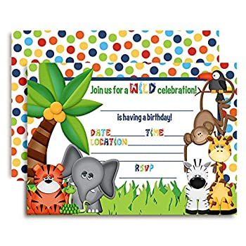 Amanda Creation Jungle Themed Birthday Party Fill in Invitations 20 Fill in Cards with Envelopes
