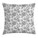 ZHIZIQIU Floral Throw Pillow Cushion Cover, Monochrome Ethni