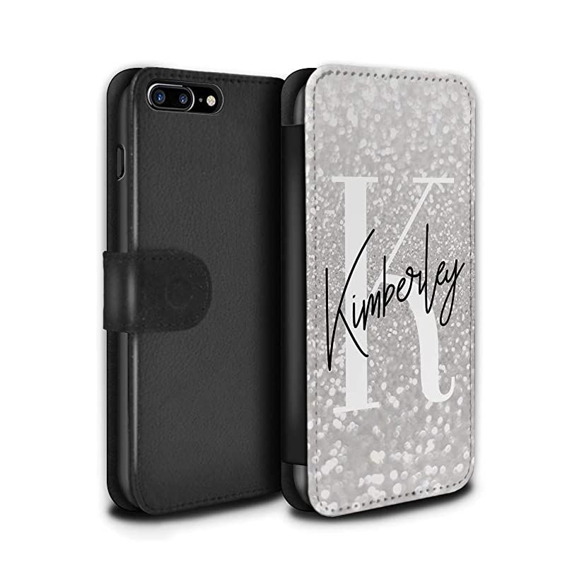 Personalized Custom Faded Look Glitter Effect PU Leather Case for Apple iPhone 7 Plus/Minimalist Silver Finish Design/Initial/Name/Text DIY Wallet/Cover
