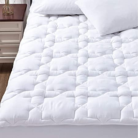 """CozyLux Cotton Mattress Pad Cover Queen Size Bed Deep Pocket Non Slip Oeko Tex Quilted Fitted Soft Mattress Topper Up to 18"""" Thick Pillowtop 450GSM White"""
