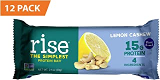 Rise Pea Protein Bar, Lemon Cashew, Soy Free, Paleo Breakfast & Snack Bar, 15g Protein, 4 Natural Whole Food Ingredients, Simplest Non-GMO, Vegan, Gluten Free, Plant Based Protein