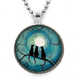 Laura Milnor Iverson Three Black Cats Silhouette Pendant Teal Moon Zen Tree Branch Necklace Handmade Jewelry Art