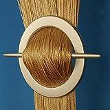 AeMBe - String Rideau Fil Porte De Rideau - 150cm X 250cm - Beige/Or - Meilleure Qualité