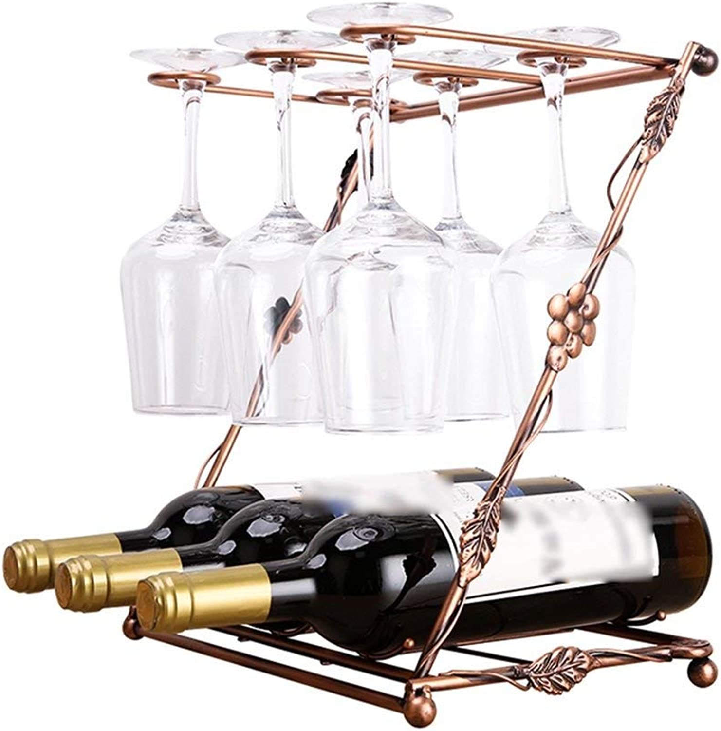Red Wine Shelf Double, Glass Rack, Multi-Functional, Bottle Rack, Hanging Cup Holder (Size   33  19.5  36cm) (Size   33  19.5  36cm)