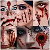 Cicatrices Halloween, Pegatinas Halloween, Tatuajes Temporales, 11 Hojas,Halloween Zombie Cicatrices Tatuajes Pegatinas con Falso Scab Sangre Especial Fx Costume Maquillaje Props