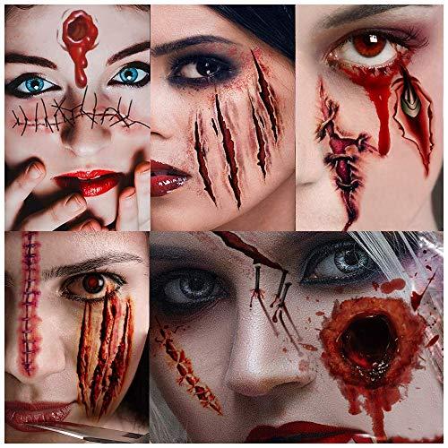 Cicatrices Halloween, Pegatinas Halloween, Tatuajes Temporales, 10 Hojas,Halloween Zombie Cicatrices Tatuajes Pegatinas con Falso Scab Sangre Especial Fx Costume Maquillaje Props