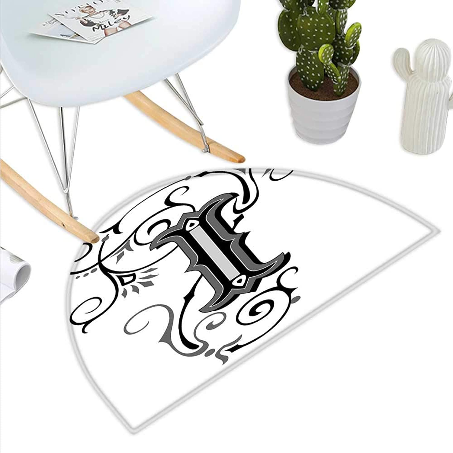 Letter I Semicircle Doormat Capital with Grand Illustrious Design Abstract Elements Shapes Swirls Lines Halfmoon doormats H 39.3  xD 59  Black Grey White