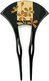 (ソウビエン) バチ型簪 黒 桜 花 手描き 蒔絵調 ラメ フォーマル 日本製