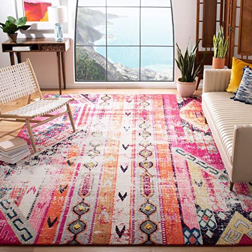 Safavieh Monaco Collection MNC222D Boho Chic Tribal Distressed Non-Shedding Living Room Bedroom Area Rug, 5' x 5' Square, Magenta / Multi