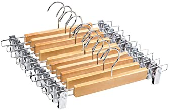 MLLZX 10 Pcs High-Grade Wooden Pants Hangers with Stainless Steel Clips Solid Wood Skirt Hanger Trousers Rack Clip Clothes...