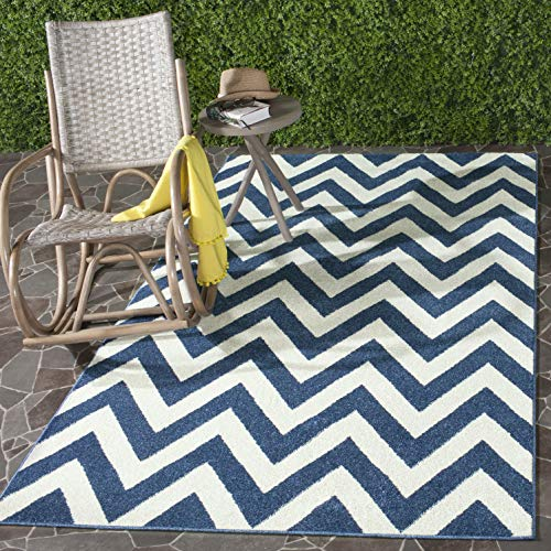 Safavieh Amherst Collection AMT419P Navy and Beige Indoor/ Outdoor Area Rug (8' x 10')
