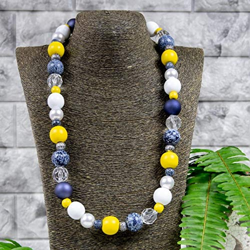 Necklace wooden beads handmade woman accessories beaded jewelry single strand colorful blue denim hand made everyday statement vintage fashion natural organic earth big chunky round every day gift